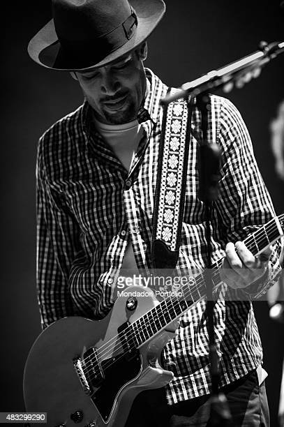 The American singer and musician Ben Harper with checked shirt guitar and a Borsalino hat in concert at Assago Summer Arena Assago Milan 22nd July...