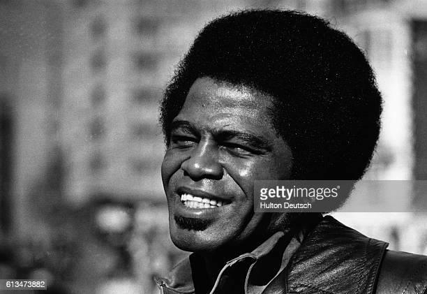 The American singer and song writer James Brown known as the 'godfather of soul' His hits include Sex Machine and Get up offa that thing