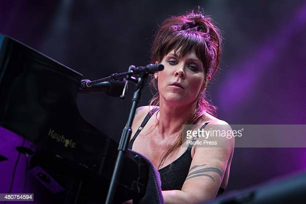 The american singer and song-writer Beth Hart pictured on stage as she performs at Moon and Stars Festival 2015 in Locarno.