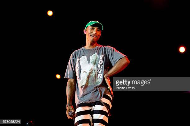 The american singer and song-writer Pharrell Williams pictured on stage as he performs live at Street Music Art in Assago Milan, Italy.