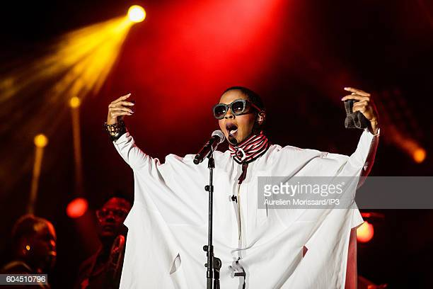 The American Singer of hip hop and soul Lauryn Hill plays in concert during the 'Festival de l humanite' a festive and political event organized...
