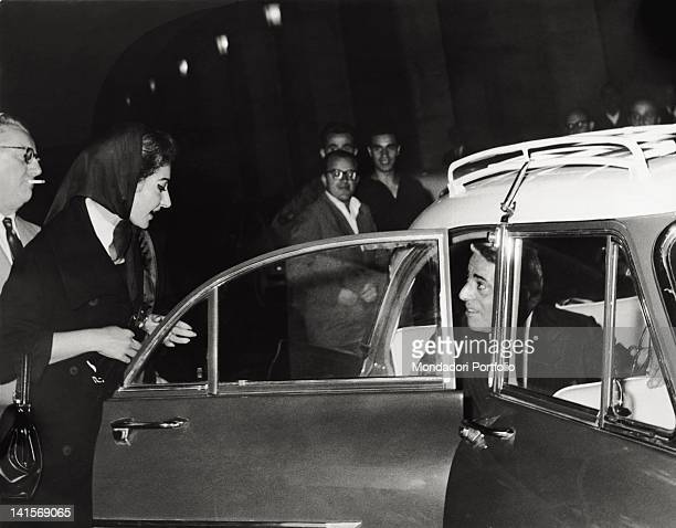 The American soprano Maria Callas getting in the car with the Greek shipowner Aristoteles Onassis Italy 1959