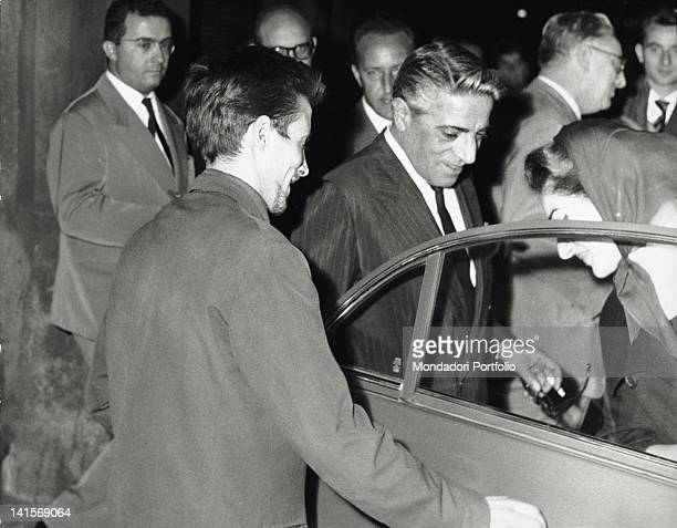 The American soprano Maria Callas getting out of the car with the Greek shipowner Aristoteles Onassis Italy 1959