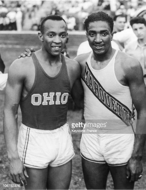The American Sprinters Jesse Owens And Ralph Metcalfe In NewYork In 1936 Before Leaving For Berlin Germany Where The Olympic Games Were To Take Place...