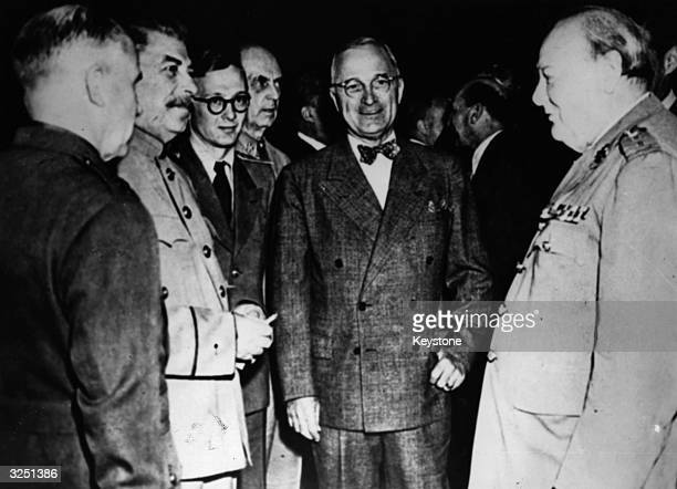 The American statesman and 33rd President Harry S Truman meets with Joseph Stalin the Soviet leader and Winston Leonard Spencer Churchill at the...