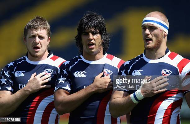 The American team line up to sing their national anthem ahead of the Churchill Cup Bowl Final match between Russia and USA at Sixways Stadium on June...