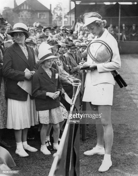The American tennis player Alice Marble on the tennis court of Surbiton Lawn Tennis Club 17th May 1937 Photograph