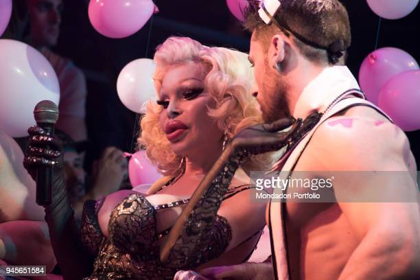 This image contains partial nudity The American transgender model Amanda Lepore special guest at Muccassassina disco for the publishing of her first...