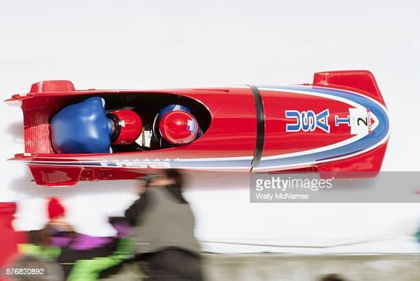 The American two man bobsled team of Brian Shimer and Herschel Walker race down the track during the 1992 Winter Olympic Games at Albertville France
