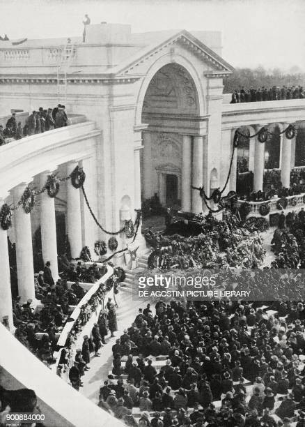 The American Unknown Soldier being buried in the Arlington National Cemetery Washington United States of America from L'Illustrazione Italiana Year...
