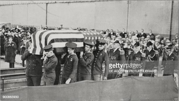 The American Unknown Soldier's body being carried aboard the Olympia cruiser Le Havre France from L'Illustrazione Italiana Year XLVIII No 45 November...