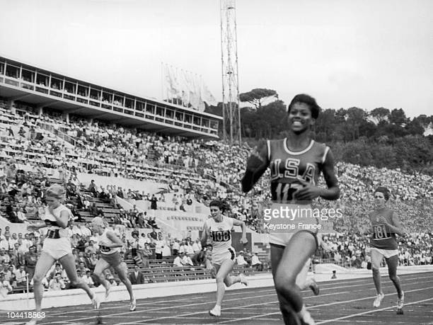 The American Wilma Rudolph Winning The Women'S 200Meter Race Within 24 S Before The German Heine And The English Dorothy Hyman At The Olympic Games...