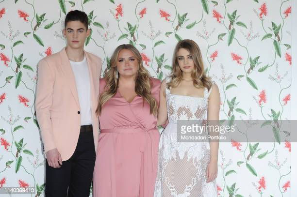 The American writer Anna Todd and the actors Josephine Langford and Hero Fiennes attend at the photocall of the film After at the Hotel Palazzo...