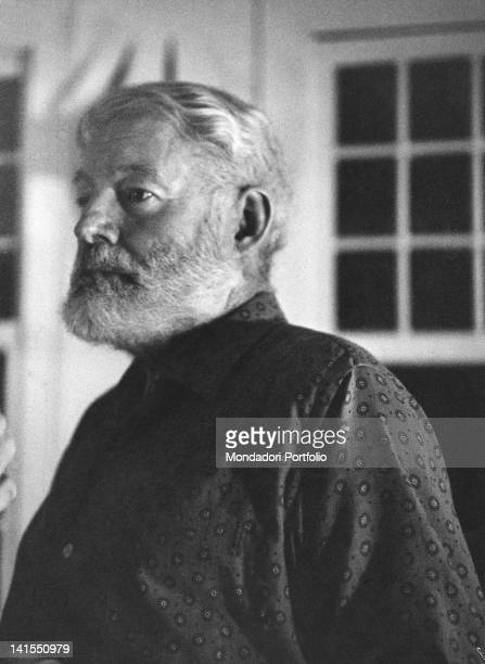 The american writer Ernest Hemingway posing in his house in Cuba. San Francisco de Paula, 1950s