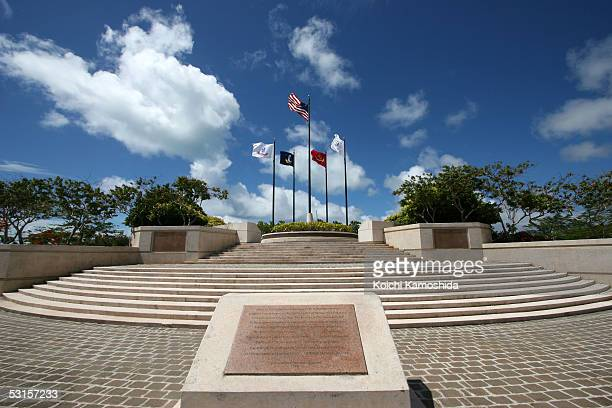 The American WWII Memorial is seen during the Wreath Laying Ceremony on June 28, 2005 in Saipan, Northern Mariana Islands. Japan's Emperor Akihito...