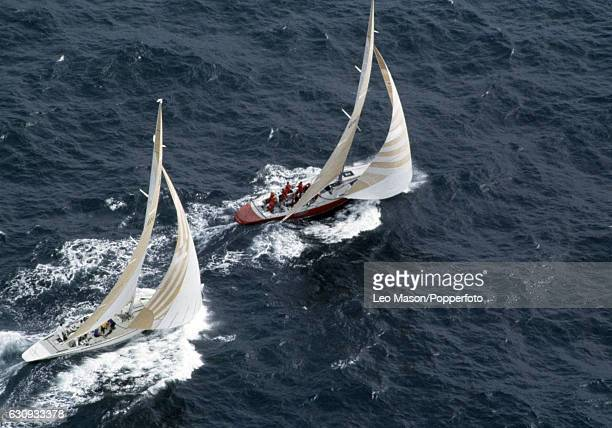The American yacht Liberty leading Australia II during the first race of the America's Cup series in Newport Rhode Island 14th September 1983 In...