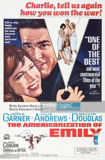 The Americanization Of Emily poster US poster from left Julie Andrews James Garner Judy Carne James Coburn Kathy Kersh Janine Gray 1964