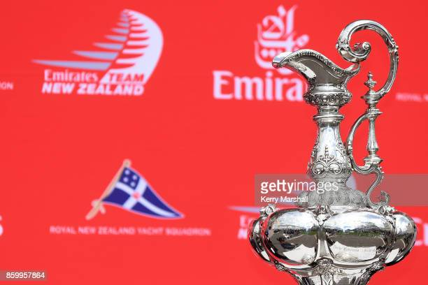 The America's Cup on display to the public at the Sound Shell on the Marine Parade during the America's Cup Regional Tour on October 11 2017 in...