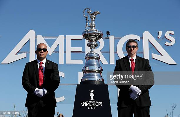 The America's Cup trophy is seen before it is given back to Oracle Team USA skippered by James Spithill after defending the cup as they beat Emirates...