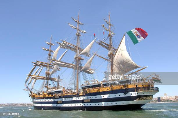 The Amerigo Vespucci from Italy during the 50th Anniversary of the Tall Ships Races 2006 Parade on the Tejo River in front of Belem Tower from the...