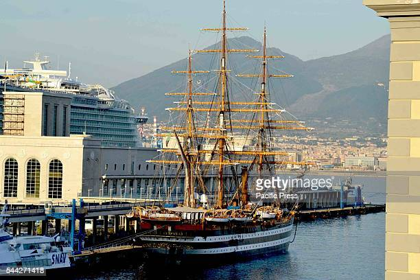 The Amerigo Vespucci known as the most beautiful ship in the world moored in the port of Naples The training ship of the Italian Navy celebrates 85...