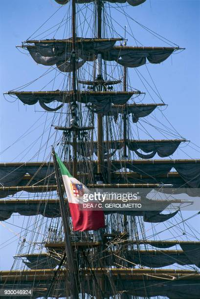 The Amerigo Vespucci tall ship Italian navy training ship Trieste FriuliVenezia Giulia Italy Detail of the sails