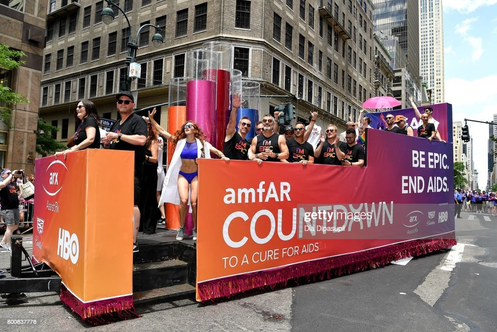 The amfAR #BeEpicEndAIDS float during the 2017 New York City Pride March on June 25, 2017 in New York City.
