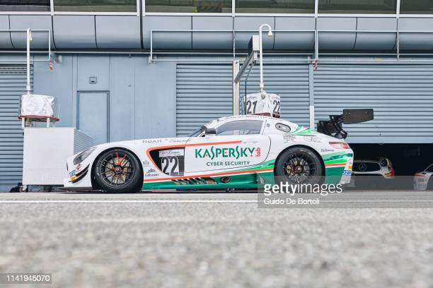 The AMG GT GT3 Mercedes Benz of Alexander Moiseev Chief Business Officer at Kaspersky Lab Alessio Rovera and Riccardo Agostini is seen during the...