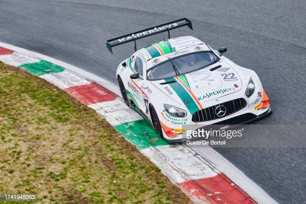 The AMG GT GT3 Mercedes Benz of Alexander Moiseev Chief Business Officer at Kaspersky Lab Alessio Rovera and Riccardo Agostini in action during the...