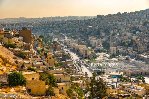 the amman city capital of jordan and the abu darwish mosque view from the hill of the citadel, or jabal al-qal'a - amman stockfoto's en -beelden