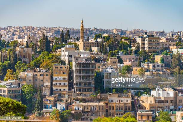 the amman city capital of jordan view from the hill of the citadel, or jabal al-qal'a - amman stock pictures, royalty-free photos & images