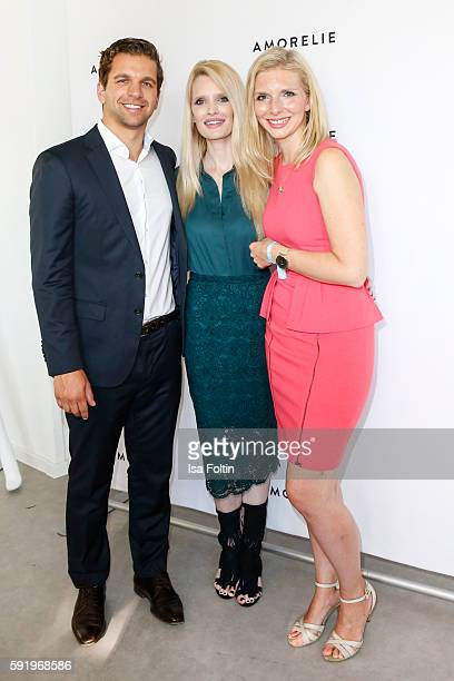 The Amorelie founder Sebastian Pollok and LeaSophie Cramer with Mirja du Mont during the Amorelie Wonderland dinner party at their new headquarter on...