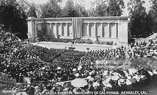 The amphitheater and stage, with a full audience in their seats at the Greek theatre at the University of California at Berkeley, Berkeley,...