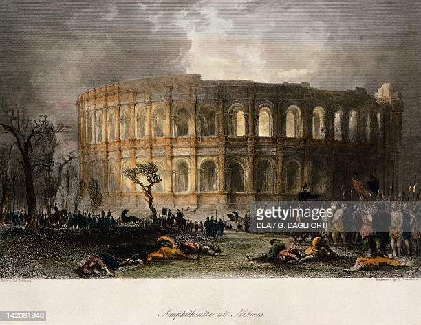 The amphitheater in Nimes France 19th Century Engraving