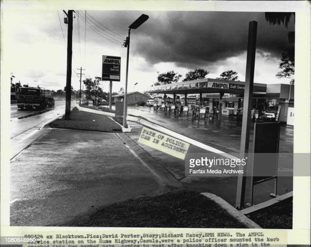 The Ampol service station on the Hume Highway Casula were a police officer mounted the Kerb March 24 1988