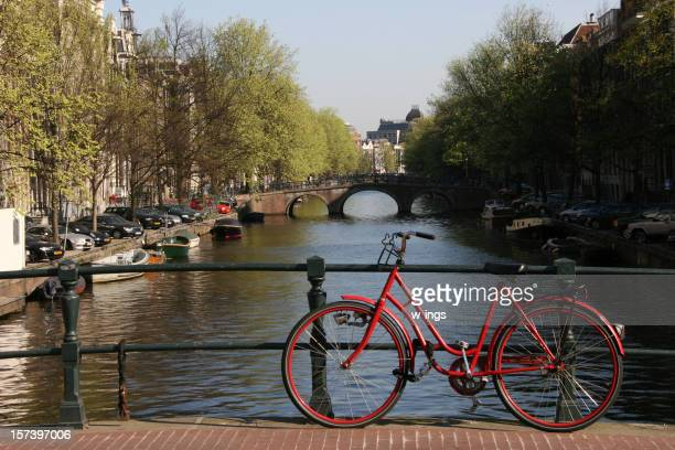 The Amsterdam city scene with a bike