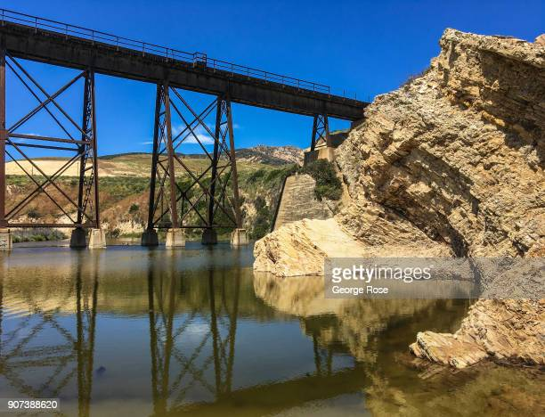 The Amtrak steel train trestle bridge across the beach is viewed on May 28 at Gaviota State Park California Because of its close proximity to the...