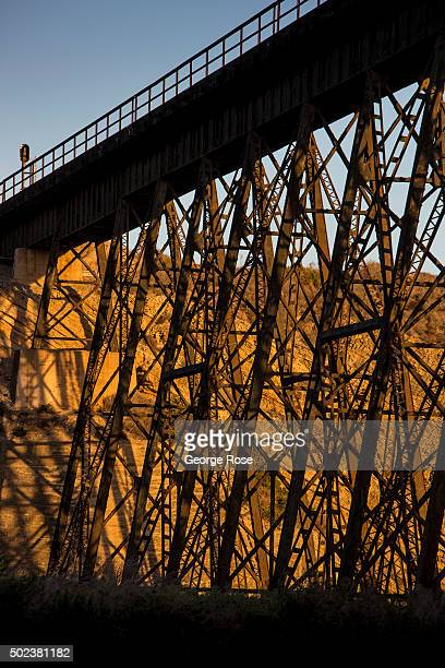 The Amtrak train trestle over Gaviota State Beach is viewed on October 1 in Gaviota California Because of its close proximity to Southern California...