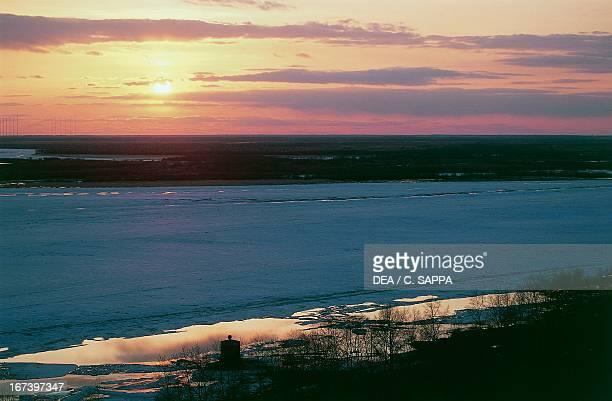 The Amur River at sunset Khabarovsk Siberia Russia