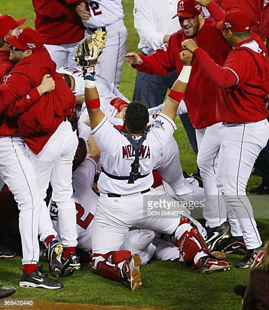 The Anaheim Angels' celebrate the last out of Game Seven of the World Series 27 October 2002 in Anaheim against the San Francisco Giants The Angels...