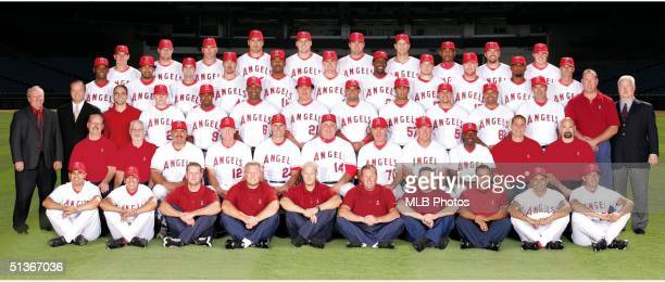 The Anaheim Angels pose for a Team Photo during the 2004 season at Angel Stadium in Anaheim California