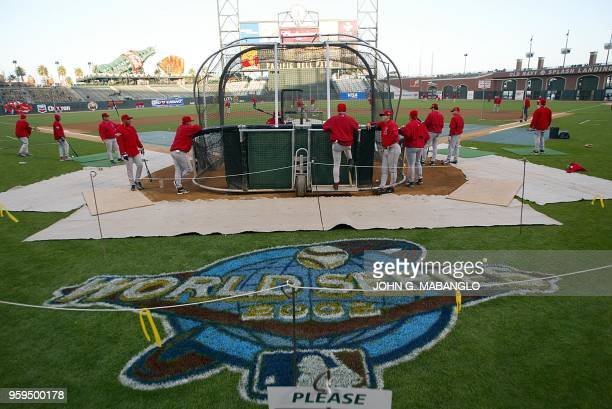 The Anaheim Angels practice at Pacific Bell Park 21 October 2002where they will face the San Francisco Giants for game three of the World Series 22...