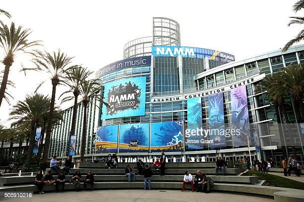 The Anaheim Conevntion Center is seen with NAMM signage at the 2016 NAMM Show and First Look at the Anaheim Convention Center on January 20 2016 in...
