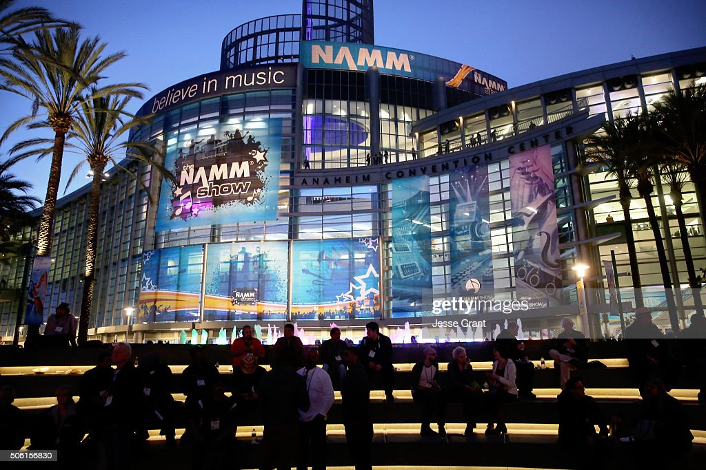 The Anaheim Conevntion Center is seen with NAMM signage at the 2016 NAMM Show Opening Day at the Anaheim Convention Center on January 21, 2016 in Anaheim, California.