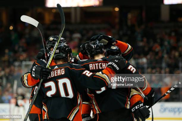 The Anaheim Ducks celebrate a goal against the New Jersey Devils at Honda Center on December 09 2018 in Anaheim California