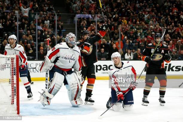 The Anaheim Ducks celebrate a goal against the Washington Capitals during the third period at Honda Center on February 17 2019 in Anaheim California