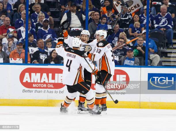 The Anaheim Ducks celebrate a goal by Brandon Montour during the first period against the Tampa Bay Lightning at Amalie Arena on February 4 2017 in...