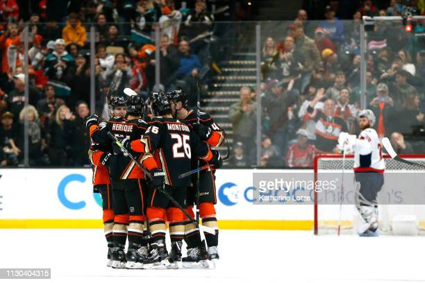 The Anaheim Ducks celebrate a goal during the second period against the Washington Capitals at Honda Center on February 17 2019 in Anaheim California