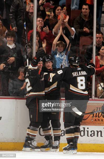 The Anaheim Ducks celebrate a second period goal from teammate Brendan Morrison the game against the Minnesota Wild on December 14, 2008 at Honda...