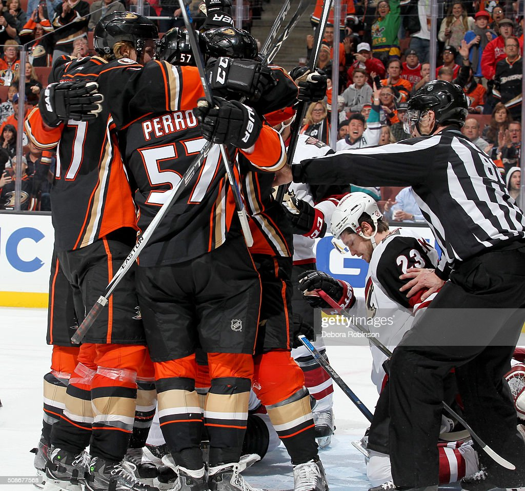 The Anaheim Ducks celebrate a third period goal against the Arizona Coyotes on February 5, 2016 at Honda Center in Anaheim, California. The goal was later overturned after review.